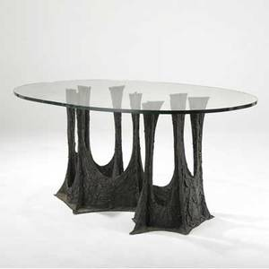 Paul evans dining table with elliptical glass top on sculpted bronze stalagtite vase 1970 signed pe 70 29 14 x 65 12 x 44 12
