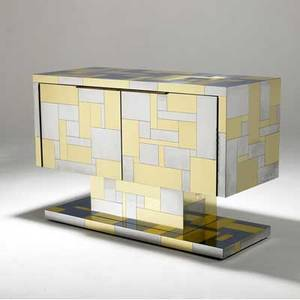 Paul evans  directional cityscape cabinet in brass and chrome with two doors enclosing interior shelves engraved an original paul evans 32 12 x 48 x 20