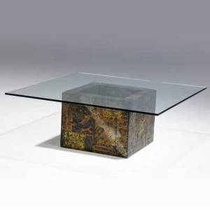 Paul evans coffee table with square plate glass top over copper bronze and pewter patchwork base 15 34 x 42 14
