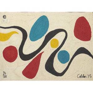 Alexander calder tapestry in maguey fiber with turquoise red and black pattern on natural ground signed calder 75 and numbered 24100 with copyright 84 x 56