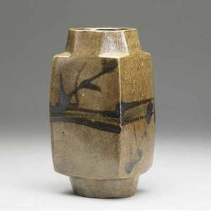 Shoji hamada foursided ceramic vase with faceted rim covered in brown glaze with brushed designs 10 x 4 34 x 4 34