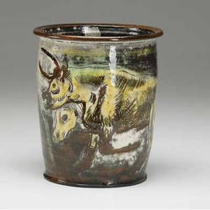 Henry varnum poor early cylindrical faience jar with incised bull cow and other animals covered in cream and brown glaze with yellow and green highlights 1951 provenance from the poor estate new