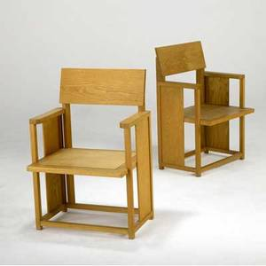 Frank lloyd wright pair of oak armchairs provenance from the herman t mossberg house south bend in ca 1948 32 14 x 21 12 x 18