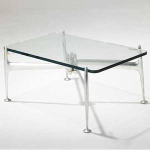 Alexander girardherman miller coffee table with glass top over polished steel base provenance brandiff airlines 15 12 x 34 x 22