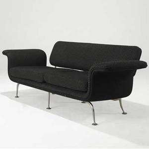 Alexander girardherman miller sofa upholstered in black wool with white patterning on aluminum legs provenance brandiff airlines 25 12 x 72 x 25