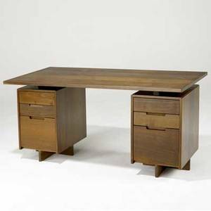 George nakashima doublepedestal desk with rectangular top over six drawers provenance available 29 12 x 60 x 27