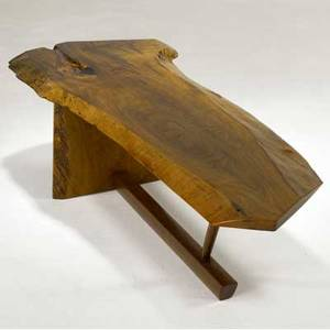 George nakashima minguren ii coffee table the freeedge persian walnut top with single rosewood butterfly key provenance available marked with clients name 14 14 x 59 x 22