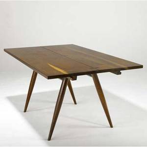 George nakashima walnut turned leg dining table the twopiece top with three rosewood butterfly keys and two 14 leaves on four splayed legs 28 12 x 60 x 36