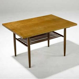 George nakashima side table with figured maple top over slatted shelf provenance available 21 x 36 x 25 12