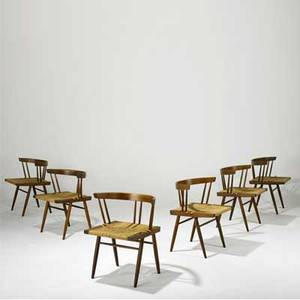 George nakashima set of six walnut grassseated dining chairs provenance available 27 x 22 12 x 18 14