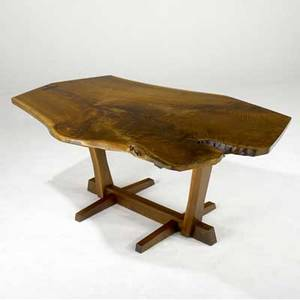 George nakashima walnut conoid dining table its freeedge walnut top with two rosewood butterfly keys provenance available 28 12 x 72 x 45