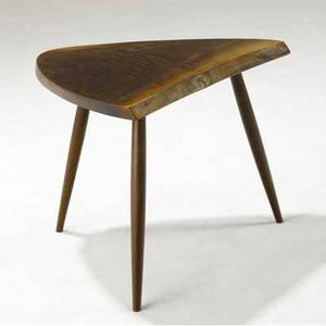 George nakashima walnut side table with freeedge top on three legs provenance available 21 14 x 27 x 20 12