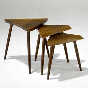 George nakashima set of three walnut nesting tables provenance available largest 21 x 20 12 x 19 12