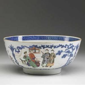 Chinese export deep bowl with mandarin design 18th c 4 12 x 10 dia