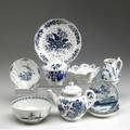 Worcester nine assorted dr wall pieces include teapot and matching sugar bowl cress bowl pitcher and five assorted bowls ca 17601780 largest 5
