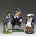 English figural tobys three includes lord nelson and two others one a jar with figural cover 19th c tallest 12