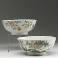 Chinese export two deep bowls with floral decoration 18th c larger 4 x 9 12 dia