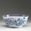 Chinese export blue and white deep bowl with landscape decoration 18th c repair to interior of base 4 14 x 10 14 dia