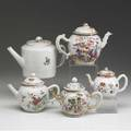 Chinese export five teapots in various patterns all late 18th or early 19th c tallest 5 12