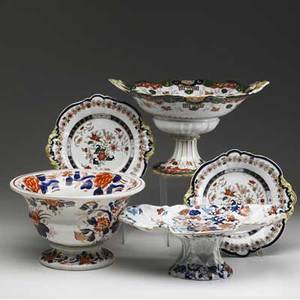 English ironstone five pieces of masons ironstone two compotes large fruit bowl and two matching serving dishes mid 19th c handle repair to tallest compote tallest 7 34