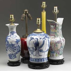 Chinese export five assorted vases and jars converted to lamps two monochrome two blue and white and one famille rose 19th c tallest to finial 24