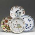 Chinese export three bowls and a platter of varying types ca 1800 largest 12 dia