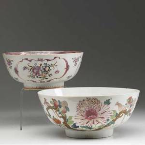 Chinese export two deep bowls with floral decoration 18th c larger 4 12 x 10 14 dia