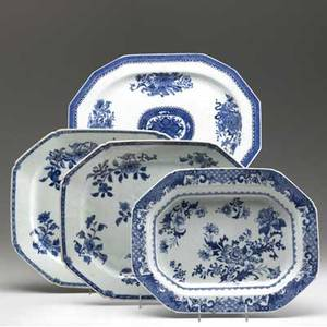 Chinese export four blue and white platters all with floral decoration early 19th c largest 16 x 13 14