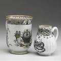 Chinese export cider mug together with a small pitcher both with floral decoration ca 1750 taller 4 12