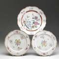 Chinese export three famille rose chargers all with scalloped rim ca 17601780 largest 12 14 dia