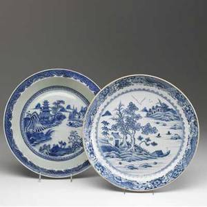 Chinese export two blue and white bowls with floral decoration early 19th c larger 13 14 dia