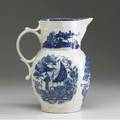Worcester dr wall disguised mask pitcher with asian decoration ca 17601780 9 12