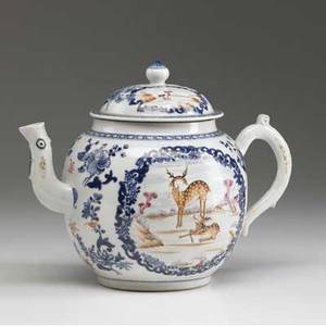 Chinese export punch pot with deer in landscape decoration ca 17601780 8