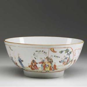 Chinese export punch bowl with figures in a landscape ca 17801800 4 12 x 10 14 dia