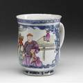 Chinese export cider mug with figural decoration ca 17601780 5 12 x 4 12 dia