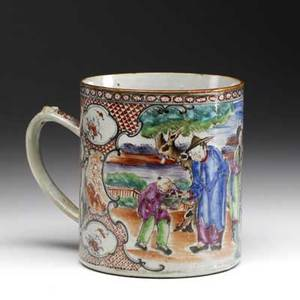 Chinese export cider mug with figural decoration ca 17601780 5 x 4 12 dia