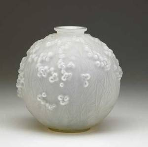 Lalique druides vase of cased opalescent glass ca 1924 minor grounding to rim m p 425 no 937 etched r lalique france 7 12 x 6 34