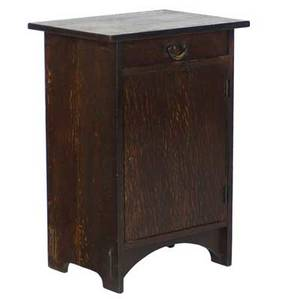 Gustav stickley smokers cabinet no 78 with drawer and fitted cabinet red decal and paper label 28 12 x 20 x 15