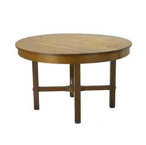 L  jg stickley dining table no 722 with circular top and bracketed crossstretchers 29 x 48 12 dia