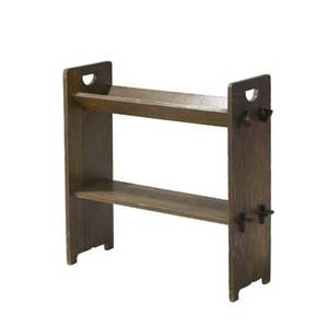 Gustav stickley magazine stand no 74 with vtrough and cutout pulls paper label 30 12 x 29 34 x 10