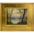 Gustave wiegand american 18701957 oil on board landscape evening at lake sunapee nh christmas 1938 framed board 8 x 10