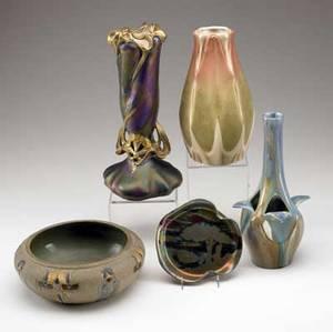 Amphora etc five vessels amphora vase with leaf motif pierrefonds bud vase carlsbad austria art nouveau vase clement massier card tray and roseville mostique bowl all marked tallest 11 12