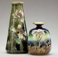 Riessner stellmacher  kessel amphora two vases taller by ernst wahliss both painted with guilded blossoms on cobalt and olive green ground red turn vienna ew stamp 5637 244 red rstk stamp 47