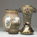 European etc four vases including one marked holly austria and one vietnam tallest 14