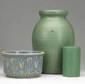 Arts and crafts pottery three vessels bauer matte green cylindrical vase unknown matte green vase clay burstand small nick and zanesville stoneware jardiniere unmarked tallest 12