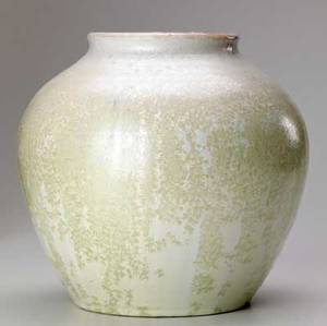 Pisgah forest bulbous vase covered in ivory crystalline glaze pisgah mark 1991 8 x 8