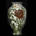 John bennett tall vase finely painted with daisies and poppies crude restoration to rim 7 nyc 78 jbennett 3 24 ny 10 14 x 5 12