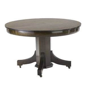 Arts  crafts dining table with circular top on an octagonal pedestal base complete with four leaves table 30 x 48 dia leaves 10 34