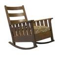 Gustav stickley rocking chair no 323 with slatted arms and upholstered dropin spring seat unsigned 39 x 28 34 x 30