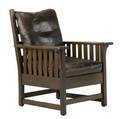 L  jg stickley fixedback armchair with slatted sides and leather cushions unsigned 40 x 31 x 30